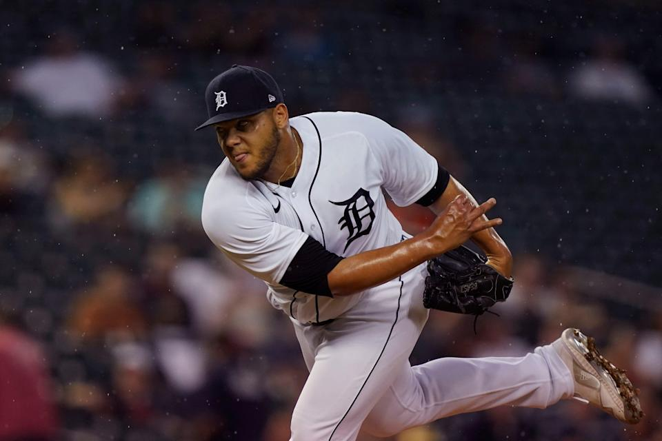 Tigers pitcher Joe Jimenez throws during the seventh inning on Friday, June 11, 2021, at Comerica Park.