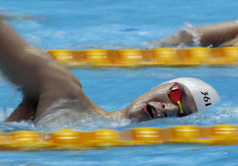 China's Sun Yang swims during a training session at the World Swimming Championships in Gwangju, South Korea, Saturday, July 20, 2019. (AP Photo/Lee Jin-man)