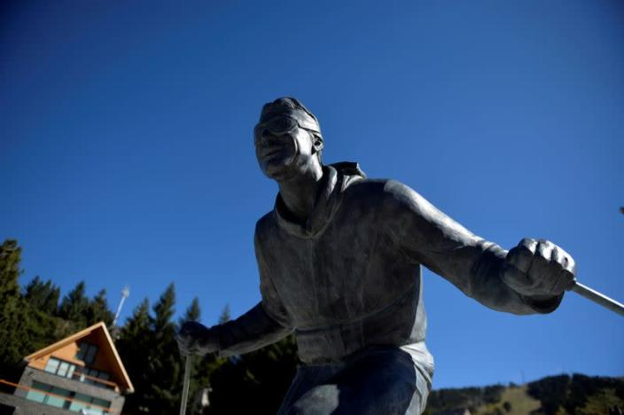 FILE PHOTO: The sculpture of a skier is seen in the ski resort town of Baqueira Beret in the Val d'Aran, Catalonia