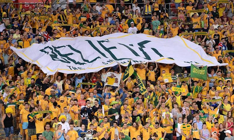 Socceroos fans during the 2015 Asian Cup match between Australia and Korea Republic in Brisbane