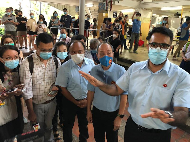 Workers' Party doorstop at Kovan Market on 8 July 2020. (PHOTO: Nicholas Yong/Yahoo News Singapore)