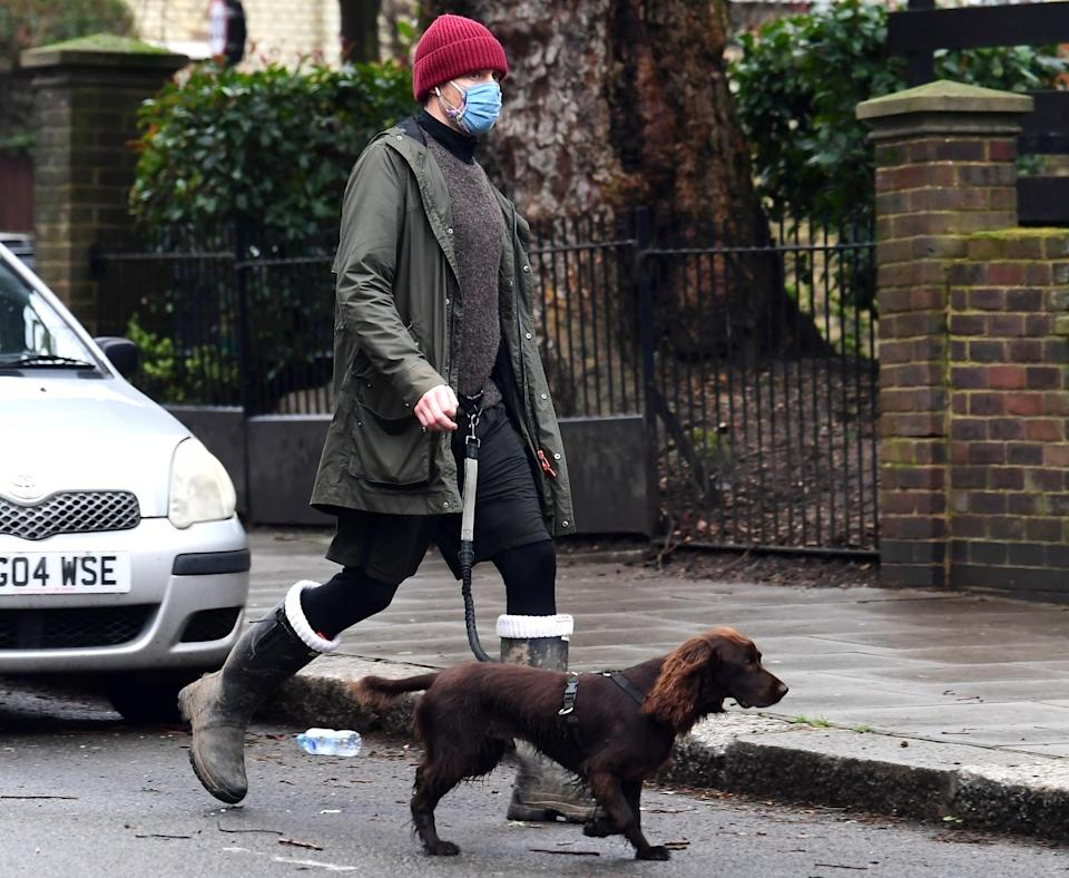 <p>Tom Hiddleston was spotted wearing two face masks during a walk with his dog in London.</p>