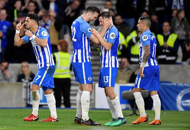 """Soccer Football - Premier League - Brighton & Hove Albion vs Tottenham Hotspur - The American Express Community Stadium, Brighton, Britain - April 17, 2018 Brighton's Pascal Gross celebrates with Shane Duffy after scoring their first goal REUTERS/Toby Melville EDITORIAL USE ONLY. No use with unauthorized audio, video, data, fixture lists, club/league logos or """"live"""" services. Online in-match use limited to 75 images, no video emulation. No use in betting, games or single club/league/player publications. Please contact your account representative for further details."""