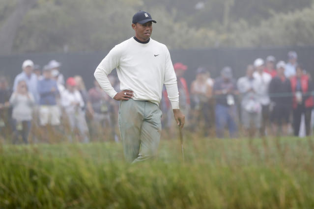 Tiger Woods waits to play the 16th hole during a practice round for the U.S. Open Championship golf tournament Wednesday, June 12, 2019, in Pebble Beach, Calif. (AP Photo/Matt York)