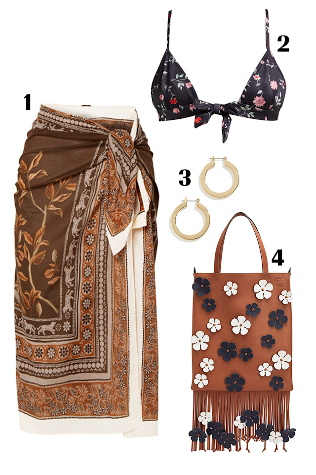 """<p>This is my dream boho look. From the muted florals on the wrap skirt to the brown fringe bag with floral decals, this outfit has that '70s free-spirited-girl feel. Less is more here with all the patterns, so only wear a gold hoop earring to keep the look elevated. <br></p><p><strong>Shop the pieces: 1.</strong><a href=""""https://www.net-a-porter.com/us/en/product/1152830/johanna_ortiz/welcome-to-the-jungle-printed-cotton-voile-pareo"""" target=""""_blank""""> </a><em><a href=""""https://www.net-a-porter.com/us/en/product/1152830/johanna_ortiz/welcome-to-the-jungle-printed-cotton-voile-pareo"""" target=""""_blank"""">Johanna Ortiz pareo</a>, $</em>395;<strong> 2.</strong> <a href=""""https://www.matchesfashion.com/us/products/Ganni-Jackson-floral-print-triangle-bikini-top-1304752""""><em>Ganni bikini top</em></a><em>, </em>$80;<strong> 3.</strong> <a href=""""https://www.shopbop.com/celine-hoops-luv-aj/vp/v=1/1566740478.htm?folderID=36661&fm=other-viewall&os=false&colorId=15065""""><em>Luv AJ celine hoop earrings</em></a><em>, $</em>70; <strong>4.</strong><a href=""""https://www.loewe.com/usa/en/women/bags/vertical-tote-flowers/340.61.Z26-2906.html?cgid=w_bags#country=US&gclid=Cj0KCQjw9pDpBRCkARIsAOzRzis0Y5B7EbtxMrdhNXmMVnsHF2xnv6uJ2wDYJbjAyHPH5OUD29DoD9caAkNBEALw_wcB&iscroll=1""""><em> Loewe vertical tote flowers</em></a><em>, $</em>3,200</p>"""