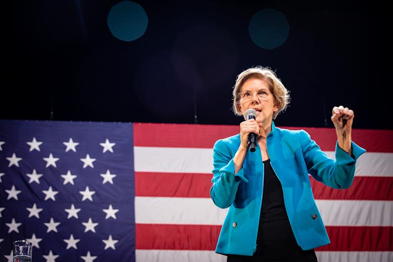 BROOKLYN, NEW YORK, UNITED STATES - JANUARY 7, 2020 - Elizabeth Warren speaks at a rally - PHOTOGRAPH BY Joel Sheakoski / Barcroft Media (Photo credit should read Joel Sheakoski / Barcroft Media via Getty Images)