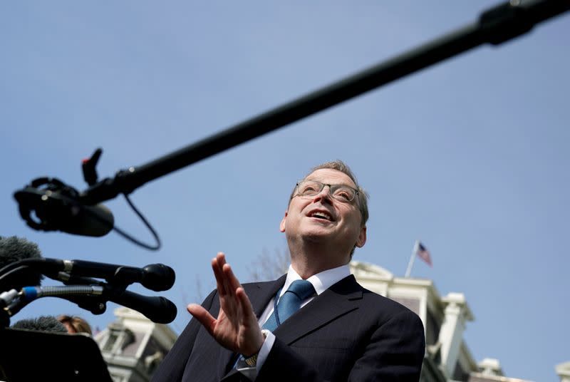 FILE PHOTO: Council of Economic Advisers Chairman Kevin Hassett speaks to reporters at the White House in Washington