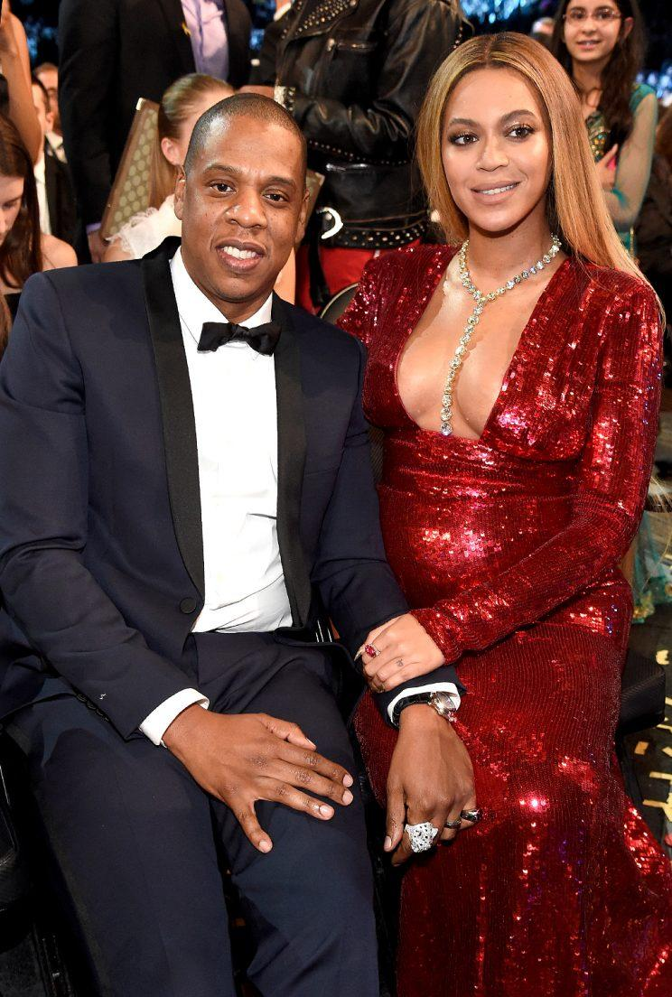 Jay-Z and Beyoncé are reportedly home with their twins and Blue Ivy at their massive Malibu estate. (Photo by Kevin Mazur/Getty Images for NARAS)