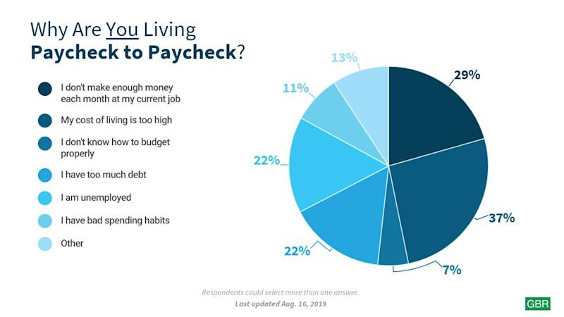pie chart explaining reasons why people are living paycheck to paycheck
