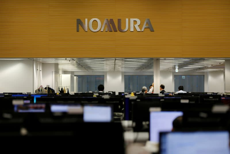 FILE PHOTO: Nomura Securities trading floor is pictured at the company's Otemachi head office in Tokyo