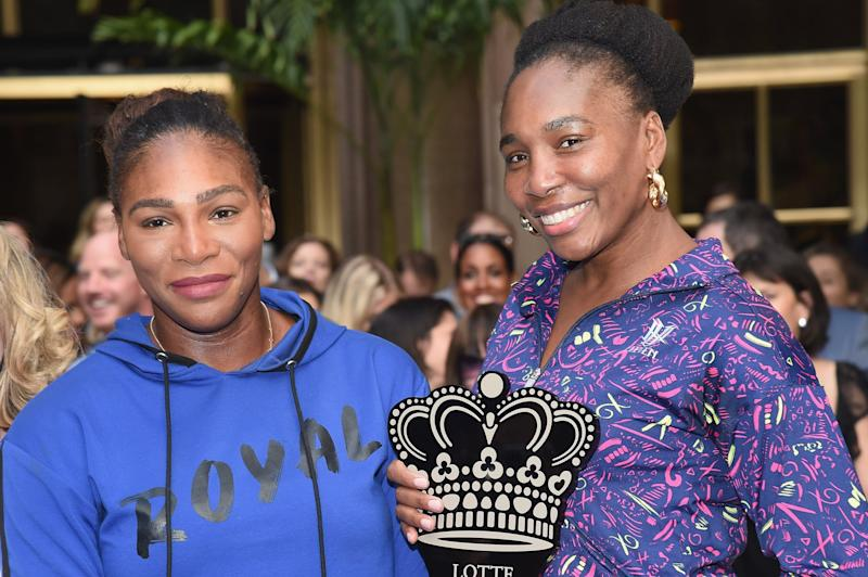 NEW YORK, NY - AUGUST 23: Serena Williams and Venus Williams pose during the 2018 Palace Invitational Badminton Tournament at Lotte New York Palace on August 23, 2018 in New York City. (Photo by Gary Gershoff/WireImage)