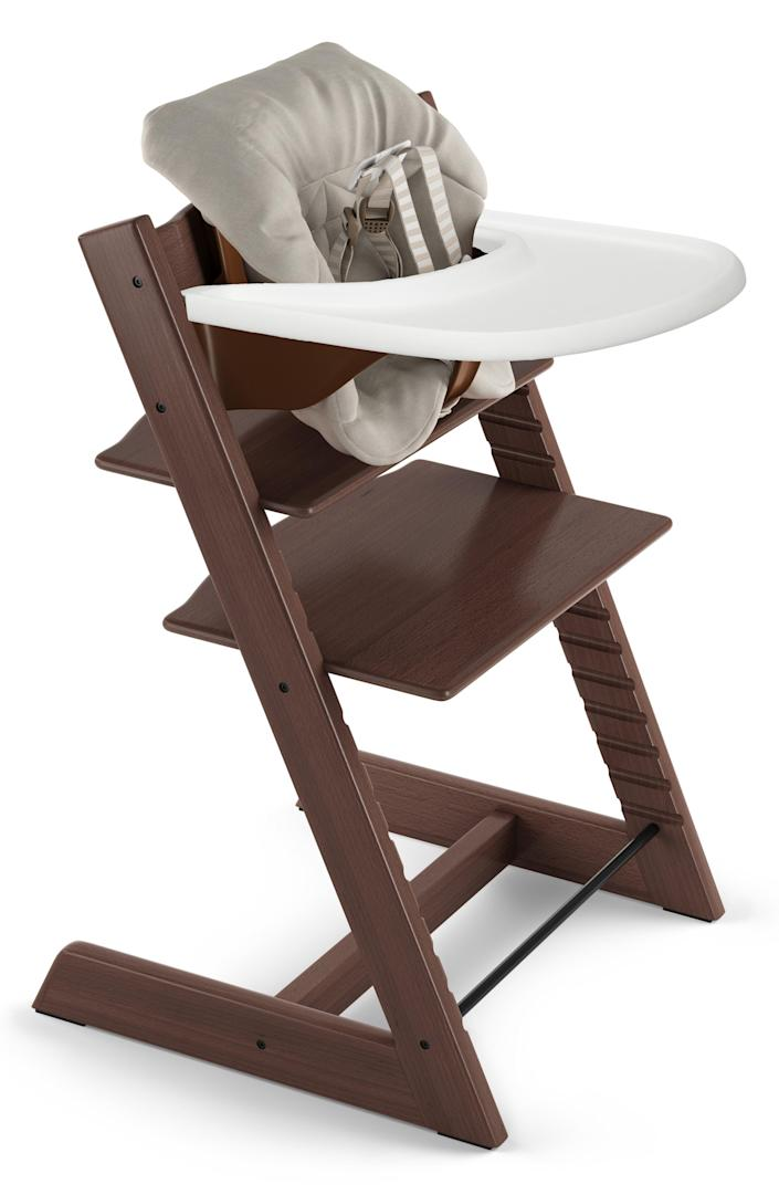 """The Stokke high chair is adjustable as your kid grows (it can even seat an adult), is way more attractive than the one you had growing up, and is made of sustainably harvested wood. $349, Nordstrom. <a href=""""https://www.nordstrom.com/s/stokke-tripp-trapp-chair-baby-set-cushion-tray-set/3534143"""" rel=""""nofollow noopener"""" target=""""_blank"""" data-ylk=""""slk:Get it now!"""" class=""""link rapid-noclick-resp"""">Get it now!</a>"""