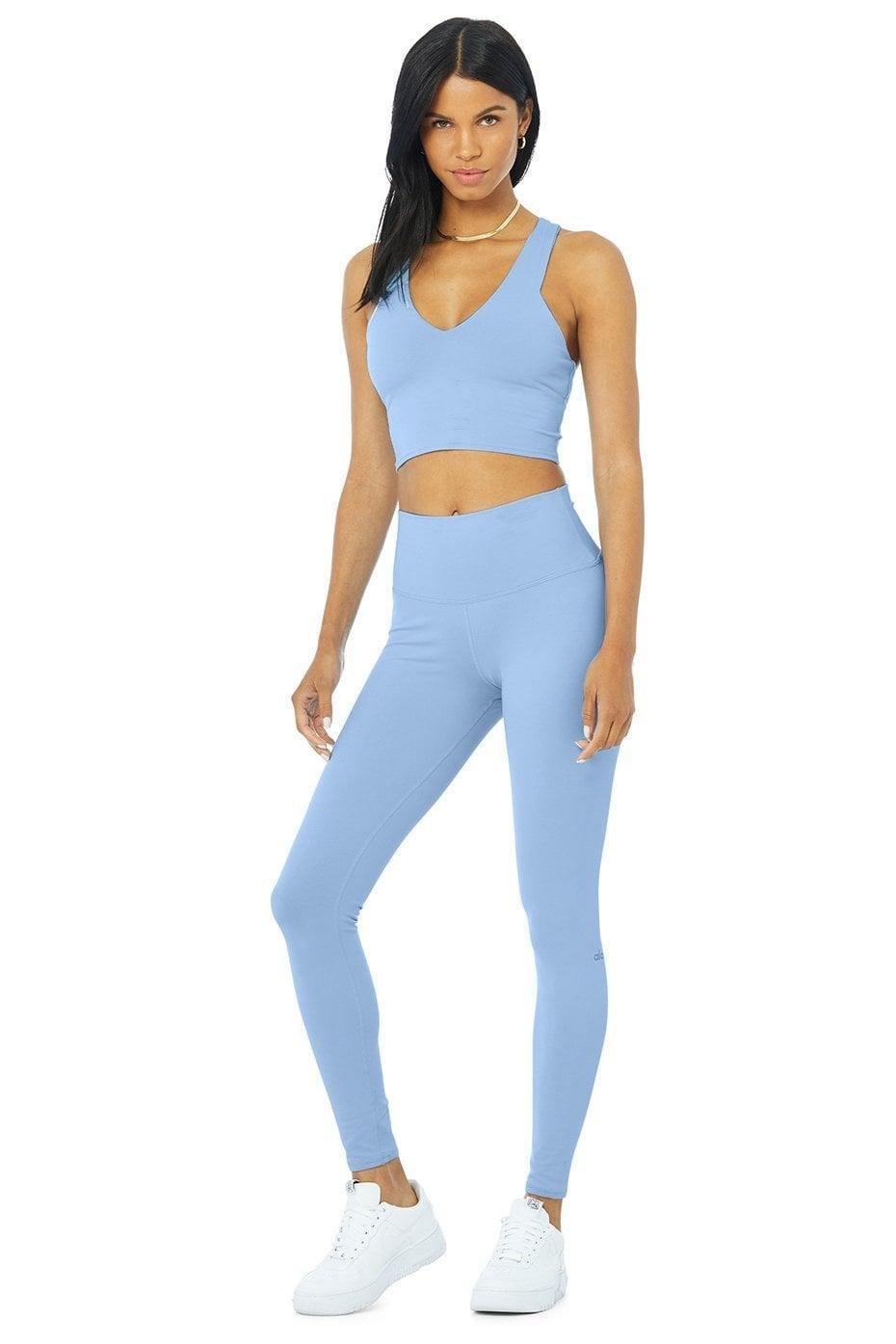 <p>We love the look of this <span>Alo Real Bra Tank &amp; High-Waist Airbrush Legging Set </span> ($154). Not only is the baby blue adorable, the Airbrush fabric is thick enough for those transitional fall days. We like this set for lower impact activities.</p>