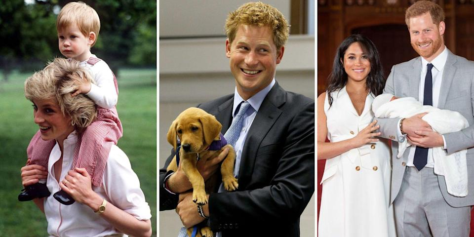 """<p>From growing up as the son of Princess Diana and Prince Charles to his time training with the Royal Military Academy, Prince Harry has grown up before our eyes. Most recently <a href=""""https://www.harpersbazaar.com/celebrity/latest/g20839844/best-prince-harry-meghan-markle-royal-wedding-photos-recap/"""" rel=""""nofollow noopener"""" target=""""_blank"""" data-ylk=""""slk:marrying"""" class=""""link rapid-noclick-resp"""">marrying</a> Meghan Markle and becoming <a href=""""https://www.harpersbazaar.com/celebrity/latest/a23801934/meghan-markle-prince-harry-royal-baby-news-due-date-name-gender-rumors/"""" rel=""""nofollow noopener"""" target=""""_blank"""" data-ylk=""""slk:a father"""" class=""""link rapid-noclick-resp"""">a father</a>, Prince Harry has truly started a life of his own. Here, we take a look back at the royal's life in photos.</p>"""