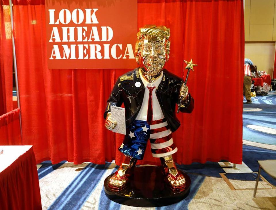 A statue of Donald Trump at the Conservative Political Action Conference (CPAC) in Orlando, Florida, 26 February 2021.