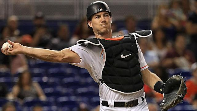 "Marlins catcher <a class=""link rapid-noclick-resp"" href=""/mlb/players/9718/"" data-ylk=""slk:J.T. Realmuto"">J.T. Realmuto</a> wants to be the next star traded out of Miami. (AP)"