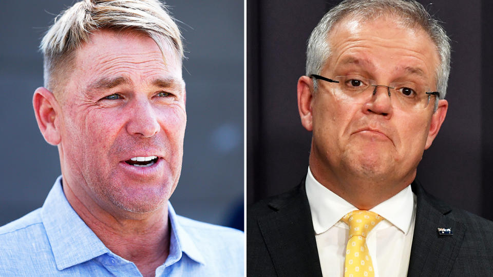 Shane Warne and Scott Morrison, pictured here at separate press conferences.
