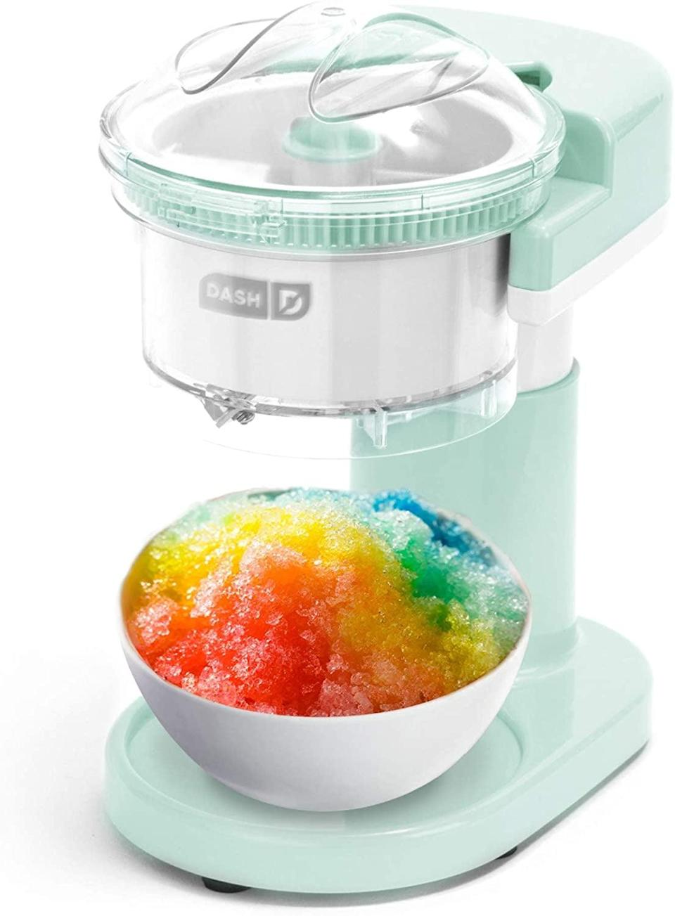 <p>Kids and adults will love the <span>Dash DSIM100GBAQ02 Shaved Ice Maker + Slushie Machine </span> ($30).. You can make snow cones, and slushies and even frozen cocktails.</p>