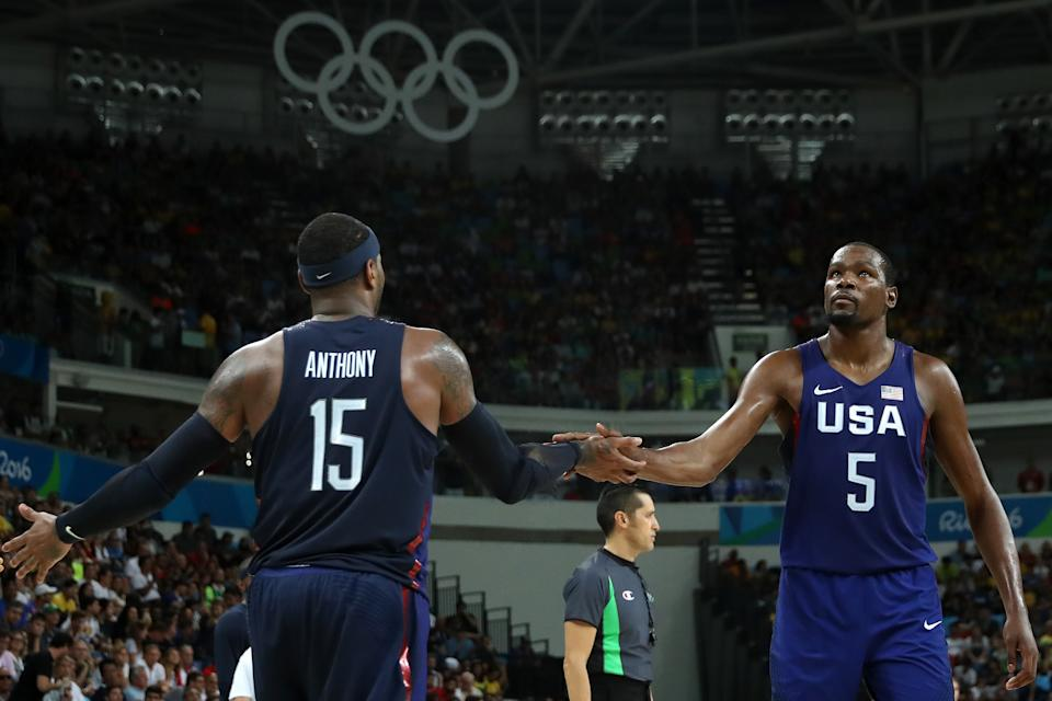 Carmelo Anthony與Kevin Durant領軍出戰里約。(Photo by Christian Petersen/Getty Images)