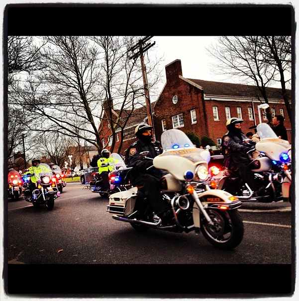 Motorcade leaving the funeral of 6-year-old Newtown victim Noah Pozner, at Abraham L. Green & Son Funeral Home. (Dylan Stableford/Yahoo! News)