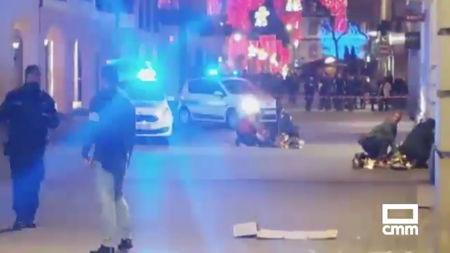 The aftermath of a shooting is seen in Strasbourg, France December 11, 2018 in this still image taken from a video obtained from social media. TWITTER/@CMM_NOTICIAS/@MARIOSAAVEDRA/via REUTERS