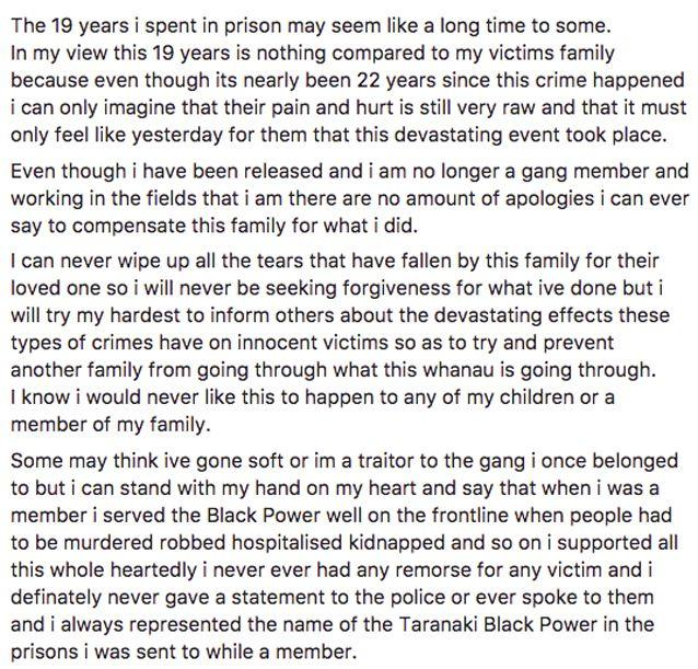Mane apologised for his actions. Facebook / Maori Prison Support Services