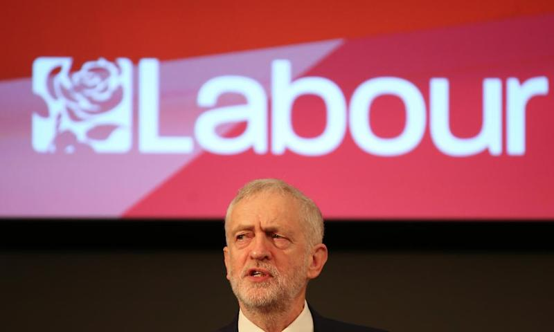 Jeremy Corbyn delivering a speech about Labour's vision for a post-Brexit Britain.
