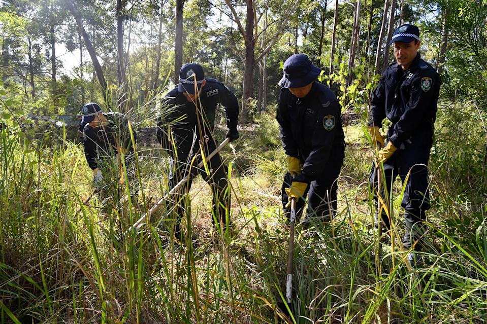 A child's toy is one of several items discovered in Kendall bushland, with about 50 officers searching the area on Thursday. Source: AAP