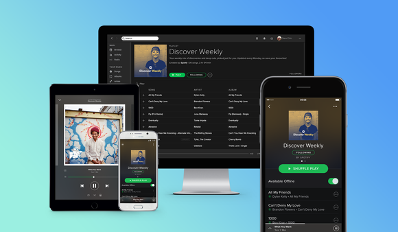 Spotify streaming music app shown on desktop, tablet, and smartphones.