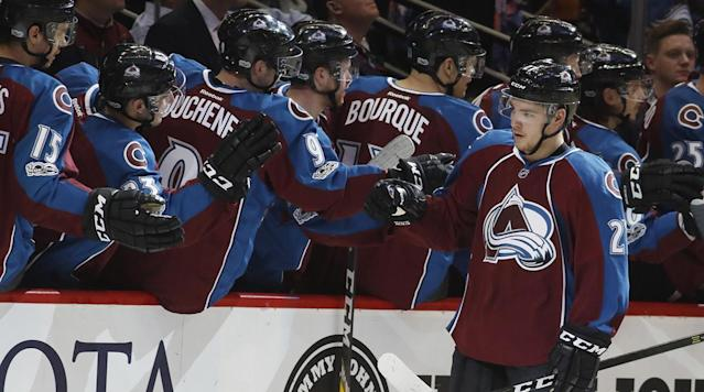 <p>Tyler Jost, the 10th pick in the 2016 NHL draft by the Avalanche, scored his first career NHL goal on Wednesday night. It sent his grandfather into tears. </p><p>Jost, 19, signed with the Avs last week, and Thursday marked his fourth game with the team. His first goal came on an odd-man rush with the Avs trailing the Wild 2-0. </p><p>A nice shot from close range. But the best part was the reaction of Jim Jost, Tyson's grandfather. He cried and then grabbed a handful of popcorn, presumably to help him absorb the tears.</p><p>Looks like me when I watch a good rom-com. </p>
