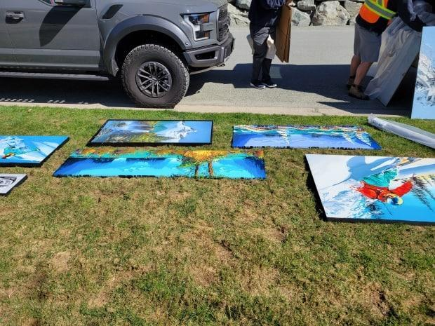Dayson says Whistler firefighters plucked artwork off the walls as they fought the fire burning around them. (Submitted by James Dayson - image credit)