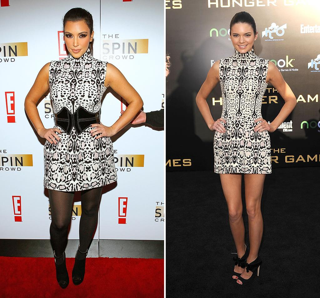 """(FILE PHOTO) In this composite image a comparison has been made between Kim Kardashian  (L) and Kendall Jenner  (R) for a Celebrity Same Dresses feature. (Left Image) NEW YORK - OCTOBER 06:  Kim Kardashian attends the """"The Spin Crowd"""" Season Finale party at Provacateur on October 6, 2010 in New York City.  (Photo by Jeffrey Ufberg/WireImage)(Right Image) LOS ANGELES, CA - MARCH 12:  Model Kendall Jenner attends 'The Hunger Games' Los Angeles Premiere on March 12, 2012 in Los Angeles, United States.  (Photo by Jason Merritt/Getty Images)"""