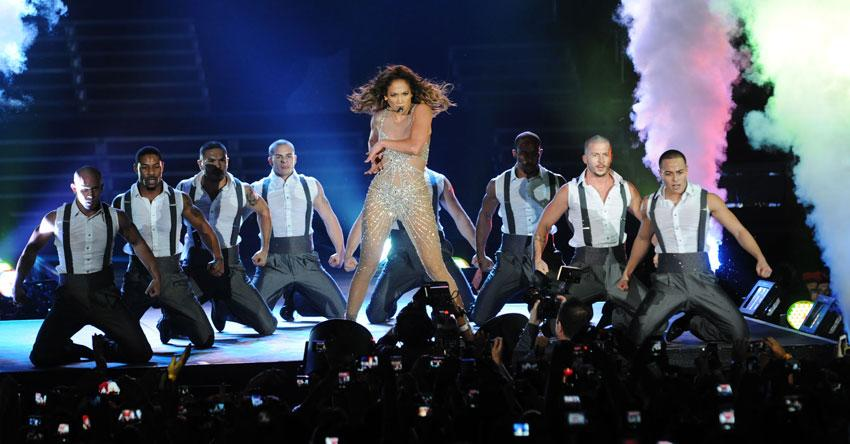 "<p class=""MsoNormal""><span>Costume changes during the set were filled with dance routines which seemed to keep the audience amused as the star of the night, Jennifer Lopez, put on yet another costume to highlight those all too famous curves kept in shape for lively performances. Photo: Peter Harrison/Yahoo! Maktoob</span></p>"