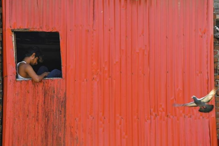 A man checks his mobile phone at the window of his shack in Dharavi slum, Mumbai, where coronavirus infections are on the rise (AFP Photo/Indranil MUKHERJEE)