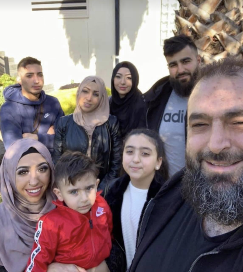 Zain Tiba, who is currently in hospital battling Covid, pictured with his family.