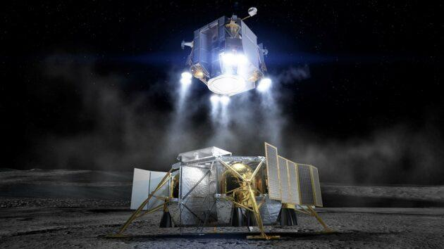 An artist's conception shows the ascent module taking off from the descent module on Boeing's lunar lander. (Boeing Illustration)