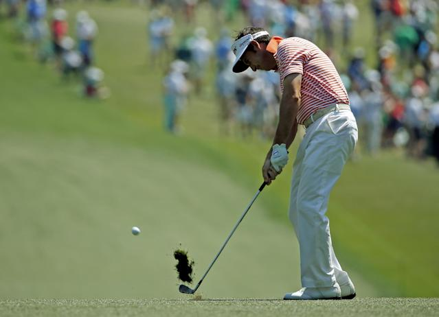 Gonzalo Fernandez-Castano, of Spain, hits off the first fairway during the third round of the Masters golf tournament Saturday, April 12, 2014, in Augusta, Ga. (AP Photo/Matt Slocum)