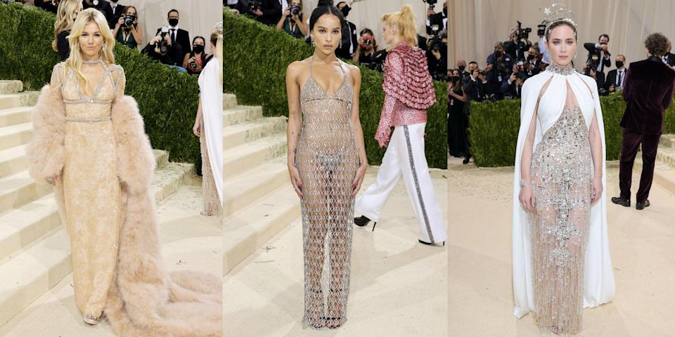 """<p>With this year's Met Gala theme titled 'In America: A Lexicon of Fashion', you could be sure our favourite A-list celebrities – including the likes of Zoë Kravitz, Sienna Miller and Kate Hudson – wouldn't disappoint when it came to donning their daring, embellished, and no doubt patriotic, looks on the red carpet. </p><p>From <a href=""""https://www.redonline.co.uk/beauty/hair-ideas/a37571629/jennifer-lopez-layered-shag-haircut-curtain-bangs/"""" rel=""""nofollow noopener"""" target=""""_blank"""" data-ylk=""""slk:Jennifer Lopez"""" class=""""link rapid-noclick-resp"""">Jennifer Lopez</a> to <a href=""""https://www.redonline.co.uk/red-women/news-in-brief/a37314741/gillian-anderson-wig-fitting-first-lady/"""" rel=""""nofollow noopener"""" target=""""_blank"""" data-ylk=""""slk:Gillian Anderson"""" class=""""link rapid-noclick-resp"""">Gillian Anderson</a>, we take a look at the most jaw-dropping celebrity dresses, gowns and suits from the year's most talked about fashion moment...</p>"""