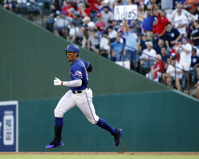 Texas Rangers Ronald Guzman (67) reacts after hitting a three-run home run off New York Yankees starting pitcher CC Sabathia (52) during the fourth inning of a baseball game Wednesday, May 23, 2018, in Arlington, Texas. (AP Photo/Michael Ainsworth)