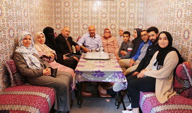 Nasser's family in 2018 in the home where he grew up in Casablanca, Morocco. (Photo: Jessica Schulberg/HuffPost)