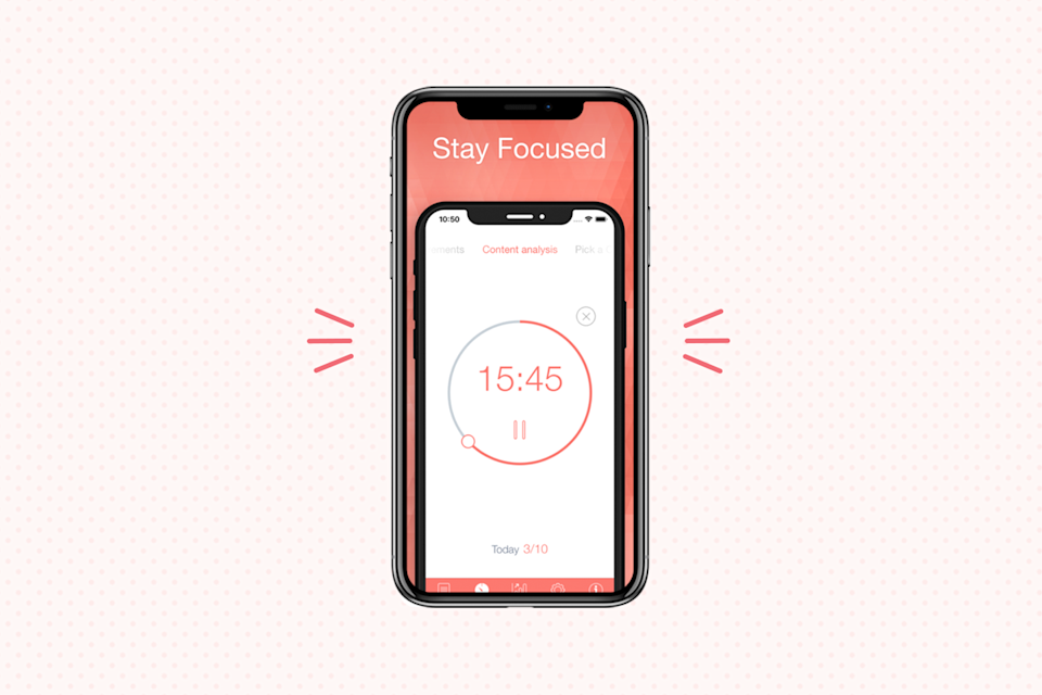 """<p>If you're the type of person who works best with intermittent breaks, this app uses the Pomodoro Technique — which involves breaking your day up into 25-minute focus sessions followed by five-minute breaks — to help you get things done. With the app, users can <strong>manage their tasks to set work interval durations and break durations</strong> (you can even customize them to your own preference), all while tracking progress and goals throughout the day or week. </p><p><strong>Cost</strong>: Free</p><p><strong><strong>Get it for</strong> <a href=""""https://apps.apple.com/us/app/be-focused-focus-timer/id973130201"""" rel=""""nofollow noopener"""" target=""""_blank"""" data-ylk=""""slk:IOS"""" class=""""link rapid-noclick-resp"""">IOS</a></strong></p>"""