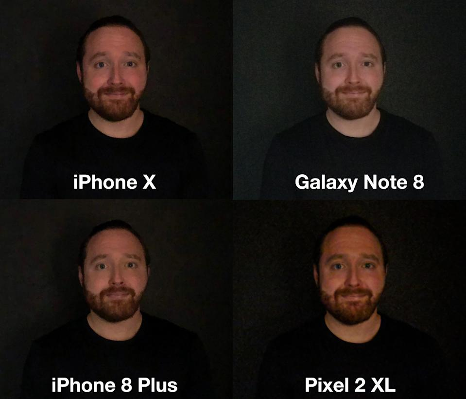 The iPhone X didn't take the brightest photo, but it captured my complexion and details more accurately than its competitors.