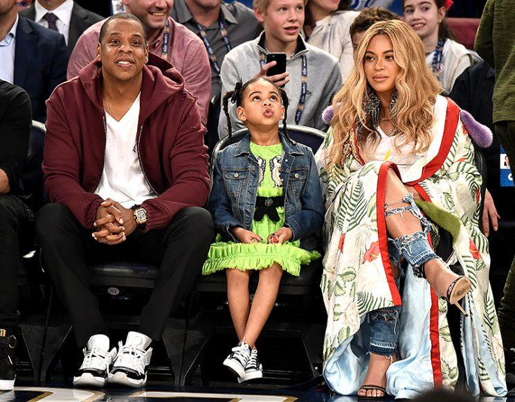 Jay Z, Blue Ivy Carter, and Beyoncé Knowles sat courtside at the NBA All-Star Game in February like the royalty they are. (Photo: Theo Wargo/Getty Images)