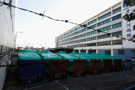 File photo of armored troop carriers, belonging to Singapore, detained at a cargo terminal in Hong Kong