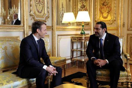 French President Emmanuel Macron and Saad al-Hariri, who announced his resignation as Lebanon's prime minister while on a visit to Saudi Arabia, meet for talks at the Elysee Palace in Paris, France, November 18, 2017.  REUTERS/Stringer