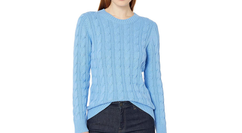 Amazon Essentials Women's Long-Sleeve 100% Cotton Cable Crewneck Sweater (Photo: Amazon)
