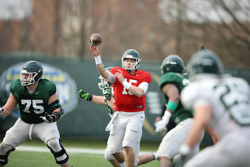 Michigan State quarterback Anthony Russo attempts a pass during spring football practice.