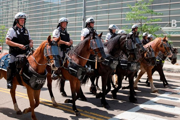 Police leave the area after a small group from the KKK-affiliated group gathered last month for a rally in Dayton, Ohio. (Photo: Seth Herald/AFP/Getty Images)