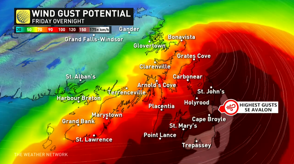 Hurricane Larry wind gust potential