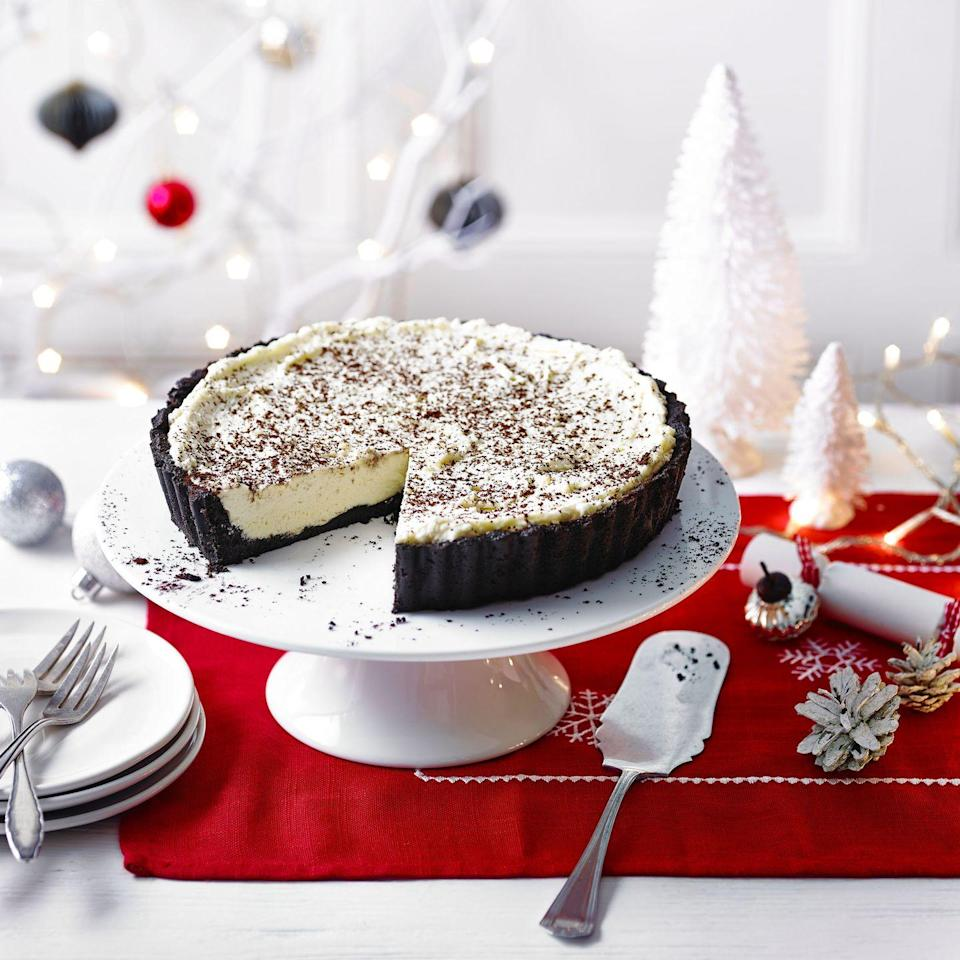 """<p>The tangy flavour of crème fraîche helps balance the sweetness from the white chocolate, but you could use extra double cream, if you prefer. Store any leftovers in the fridge.</p><p><strong>Recipe: <a href=""""https://www.goodhousekeeping.com/uk/christmas/christmas-recipes/a34797230/no-bake-irish-cream-white-chocolate-tart/"""" rel=""""nofollow noopener"""" target=""""_blank"""" data-ylk=""""slk:No-Bake Irish Cream and White Chocolate Tart"""" class=""""link rapid-noclick-resp"""">No-Bake Irish Cream and White Chocolate Tart</a></strong></p>"""